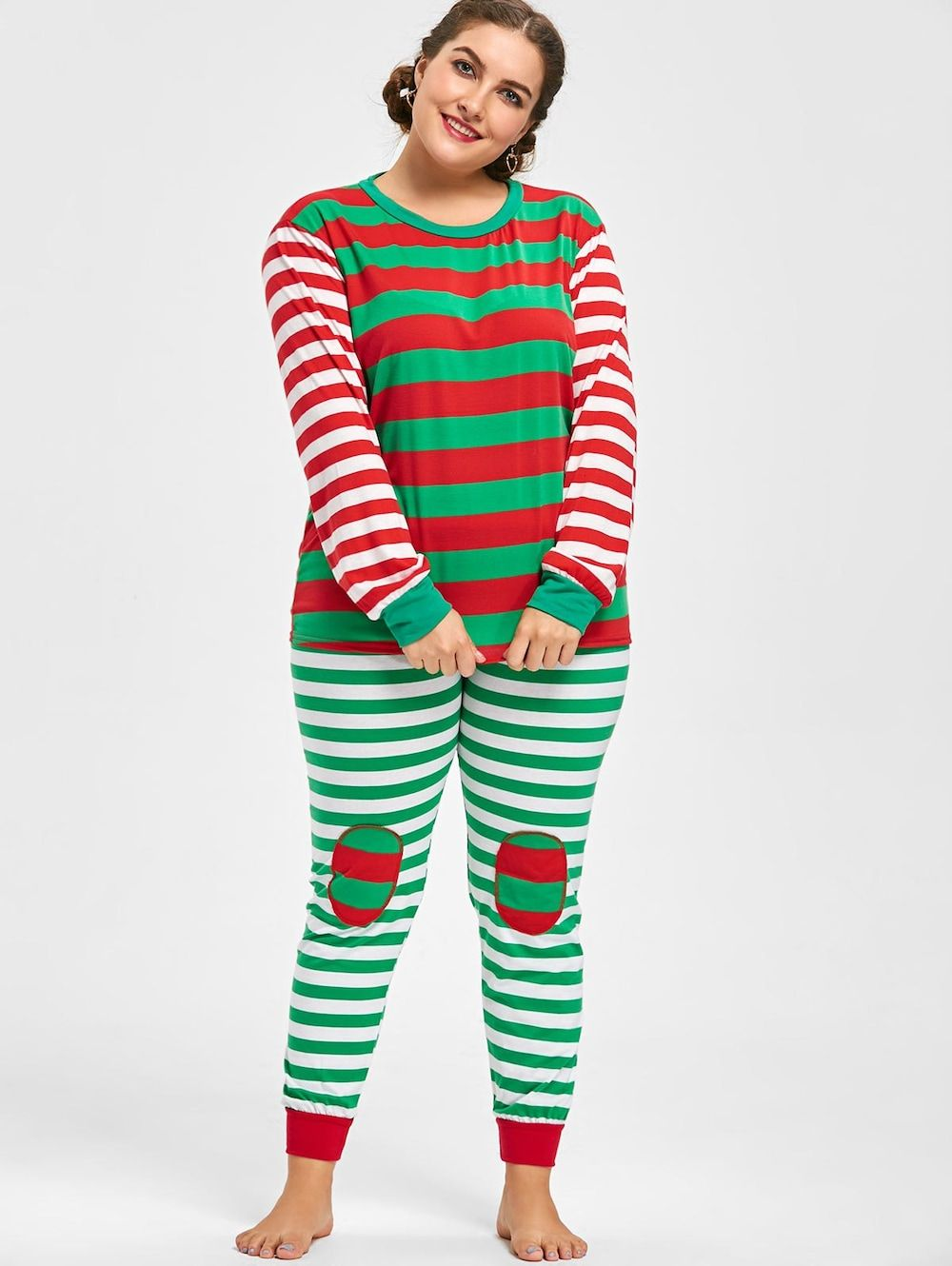 Plus Size Christmas Pajamas.Striped Plus Size Christmas Pajama Set Red Green Xl
