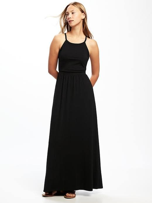 01e498619a8 Old Navy- High Neck Maxi Dress for Women- with denim jacket ...