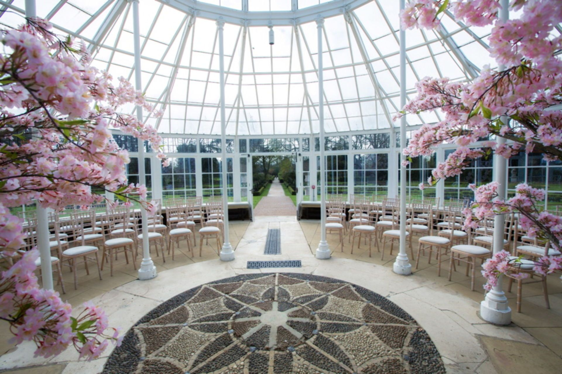 Ceremony Set Up At Chiswick House Gardens Conservatory