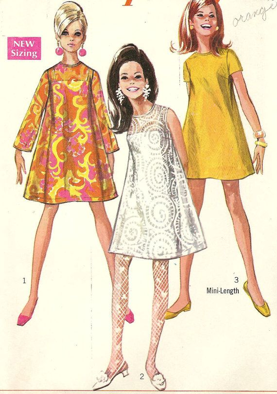 0e4a732477e 1960s tent dress - Simplicity vintage sewing pattern - Size 14 ...