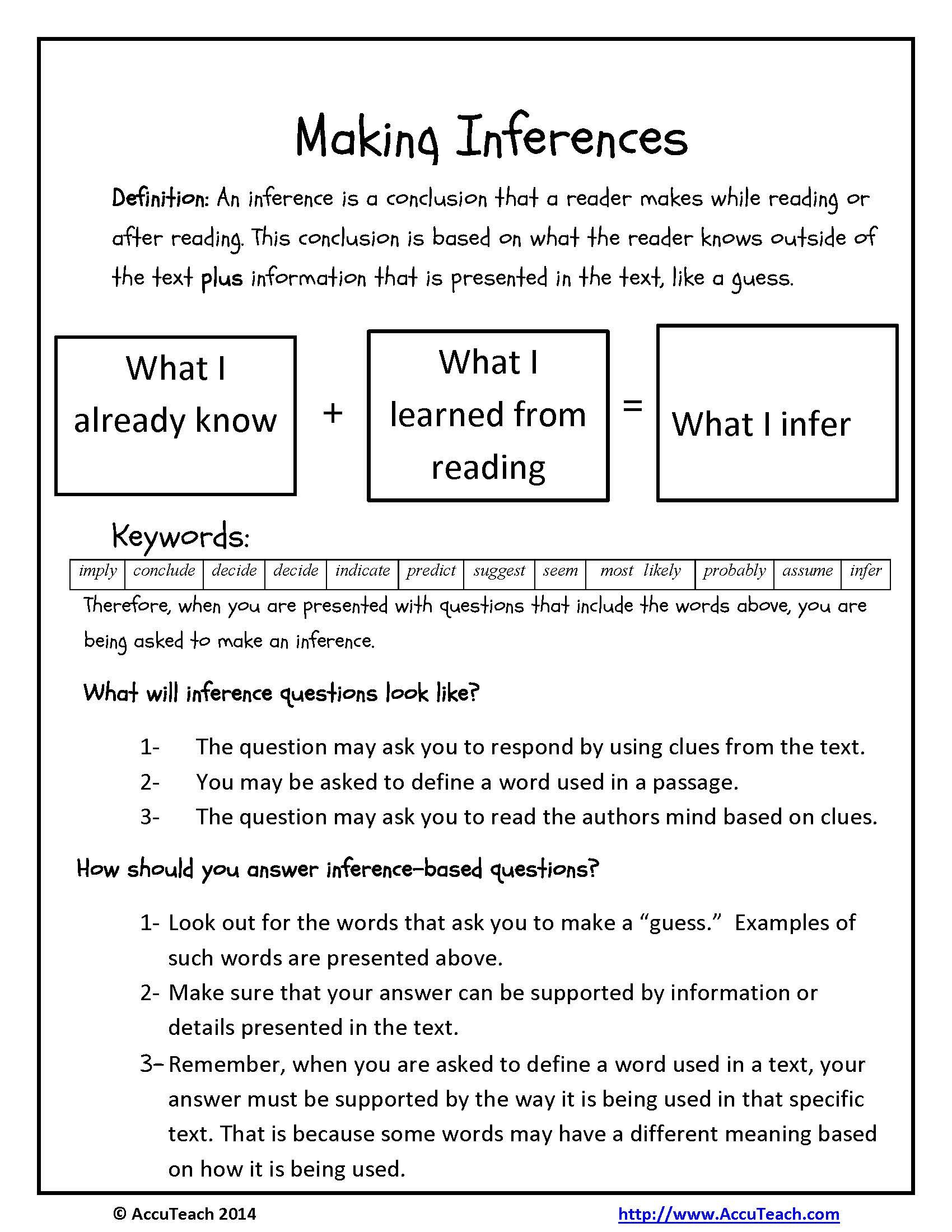 One Pager Making Inferences Reading Comprehension