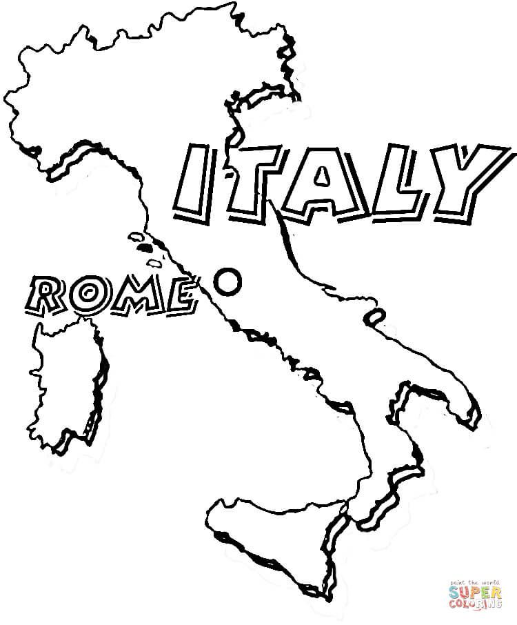 Map of Italy. Rome is the capital of Italy coloring page from Italy ...