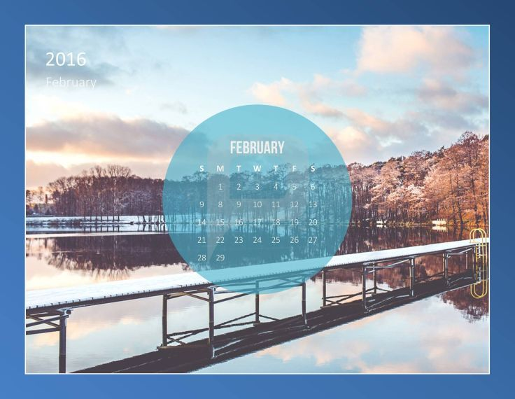 A calendar in PowerPoint provides these possibilities of adjustment - winter powerpoint template