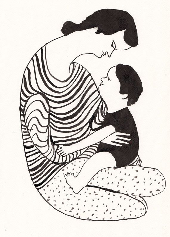 My little baby / Original black and white ink drawing / ink drawing / Black and White Painting / love drawing