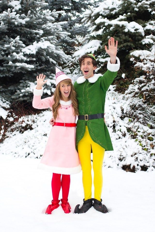 DIY Couples Halloween Costume Ideas - Buddy the ELF and Jovie Movie Character Couples Handmade Costume  sc 1 st  Pinterest & DIY Funny Clever and Unique Couples Halloween Costume Ideas ...