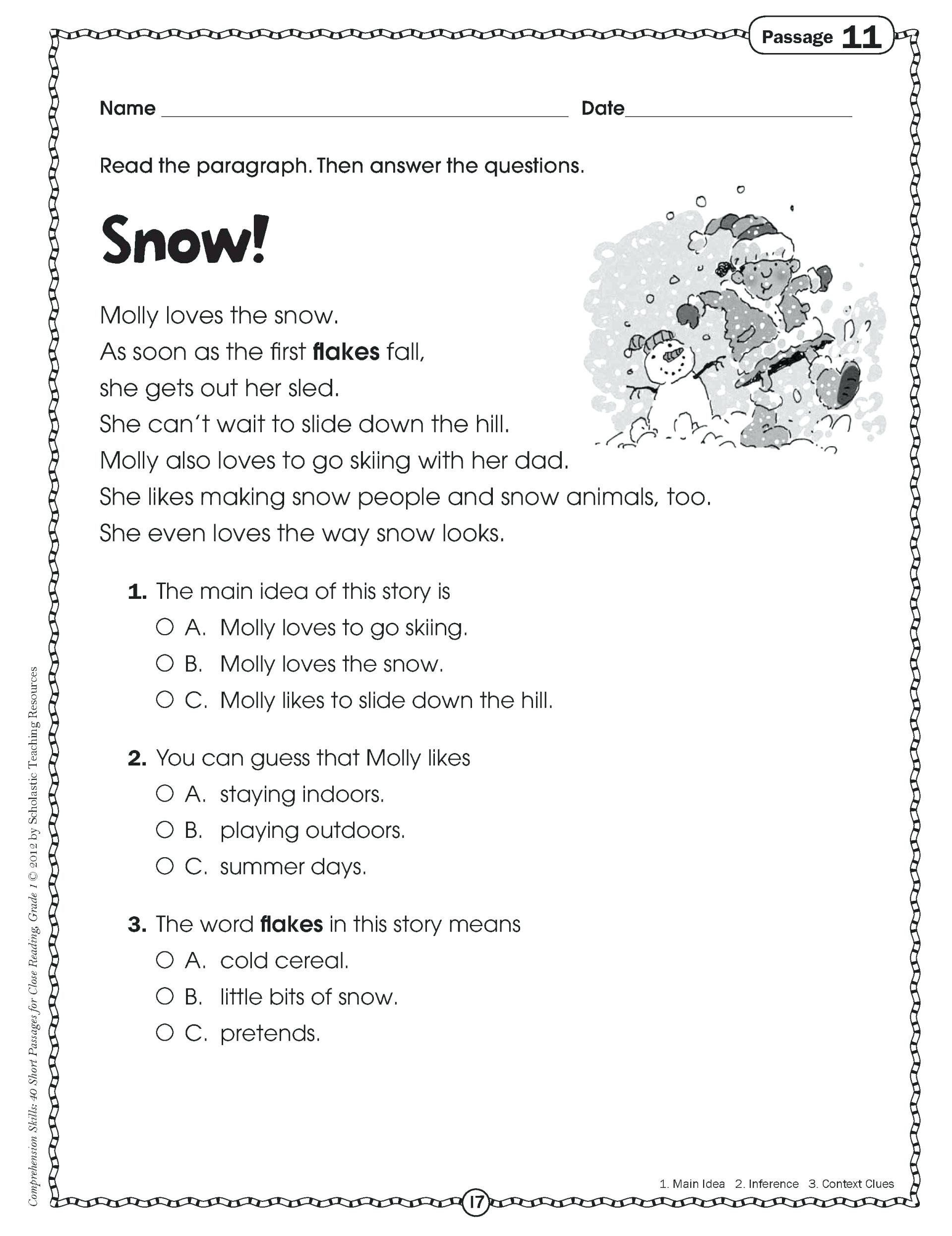 Close Reading 6th Grade 5 Preschool Worksheets Free Printables Reading  Prehension   Main idea worksheet [ 2493 x 1920 Pixel ]