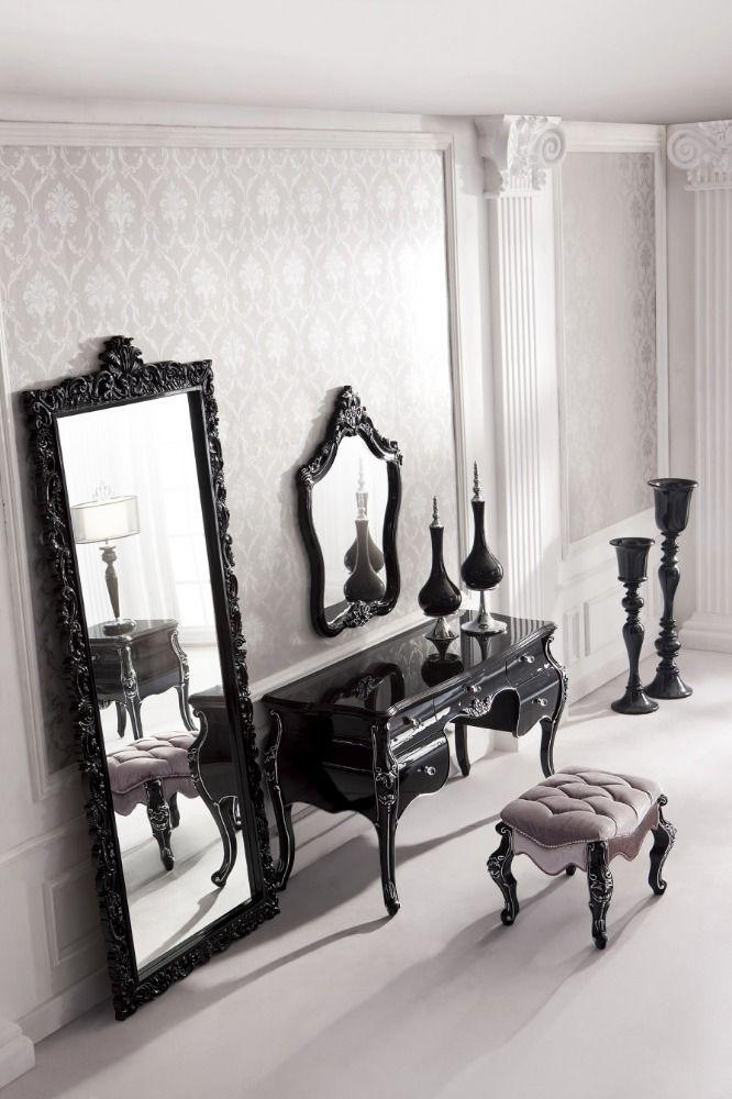 Antieke zwarte barok massief hout gesneden alle vloeren spiegel ...