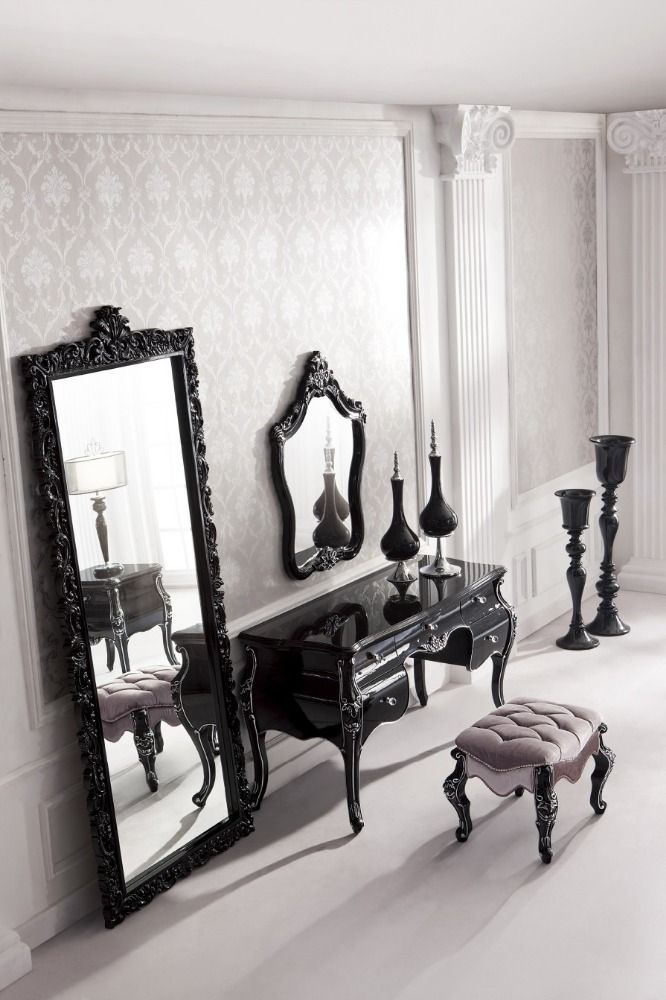 antieke zwarte barok massief hout gesneden alle vloeren spiegel slaapkamer decoratie staande spiegel afbeelding