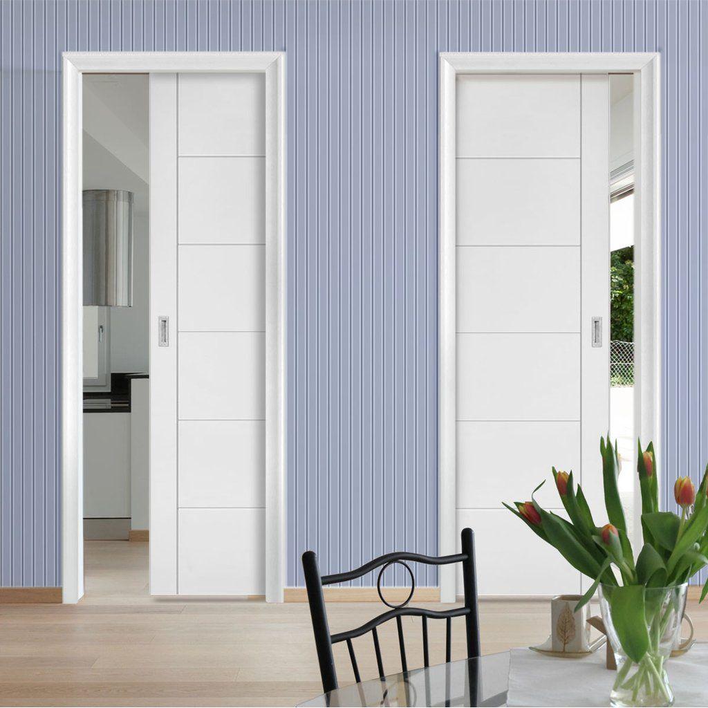 Seville Flush Unico Evo Pocket Doors - White Primed ...