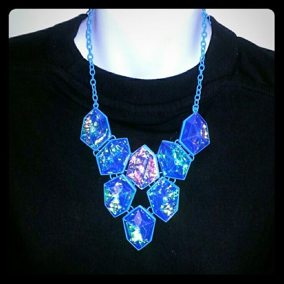 Blue Geometric shaped pendant necklace. Brand New fashion piece. Brightly colored fashion piece. Jewelry Necklaces