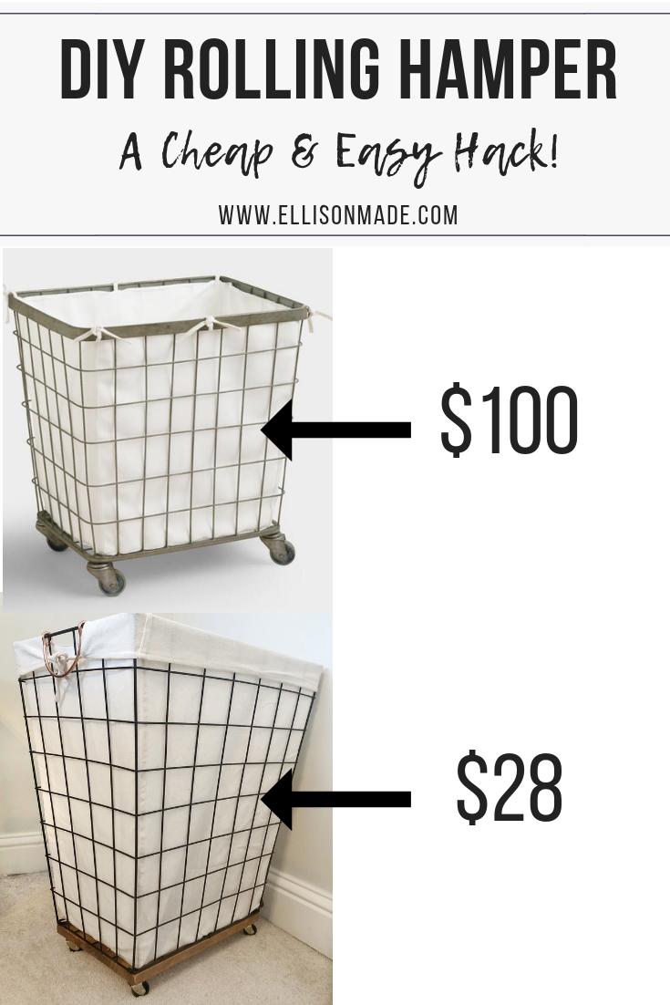 Diy Rolling Hamper Hack Upgrade A 15 Laundry Basket With Wood