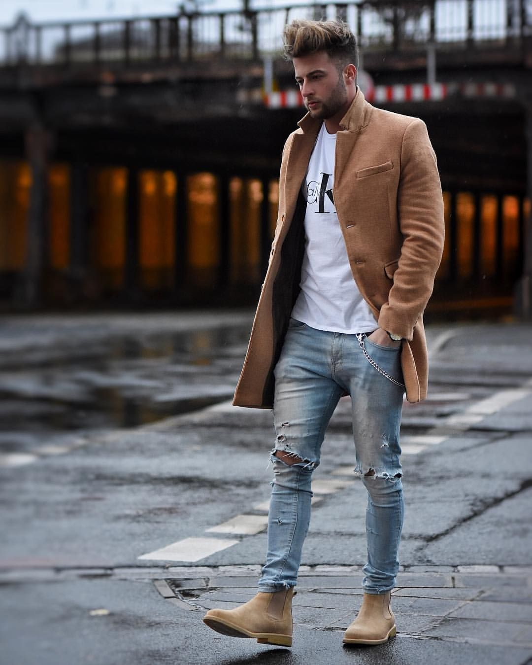 d6d58f8f3c34 Marvelous Summer Men s Fashion Ideas For Cozy Style. Men s Camel overcoat  with ripped jeans. Such a great look this Autumn Winter