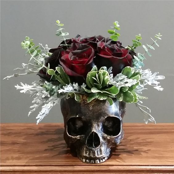 Bronze Skull Planter (sm) with OMBRE Roses by Wicked Florist NYC #plantersflowers