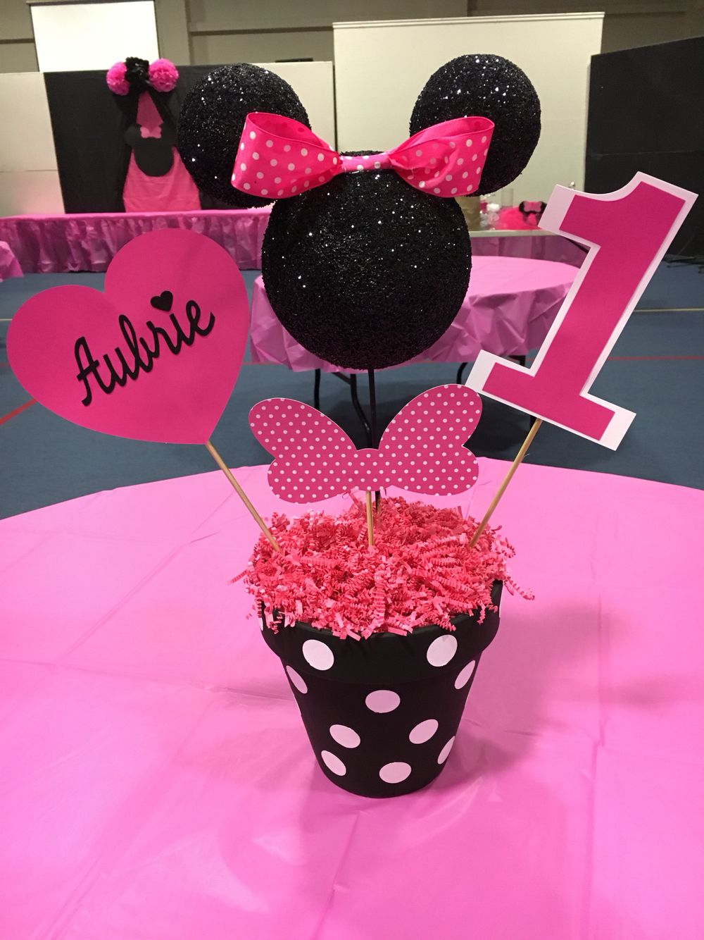 First birthday Minnie centerpiece Minnie mouse birthday