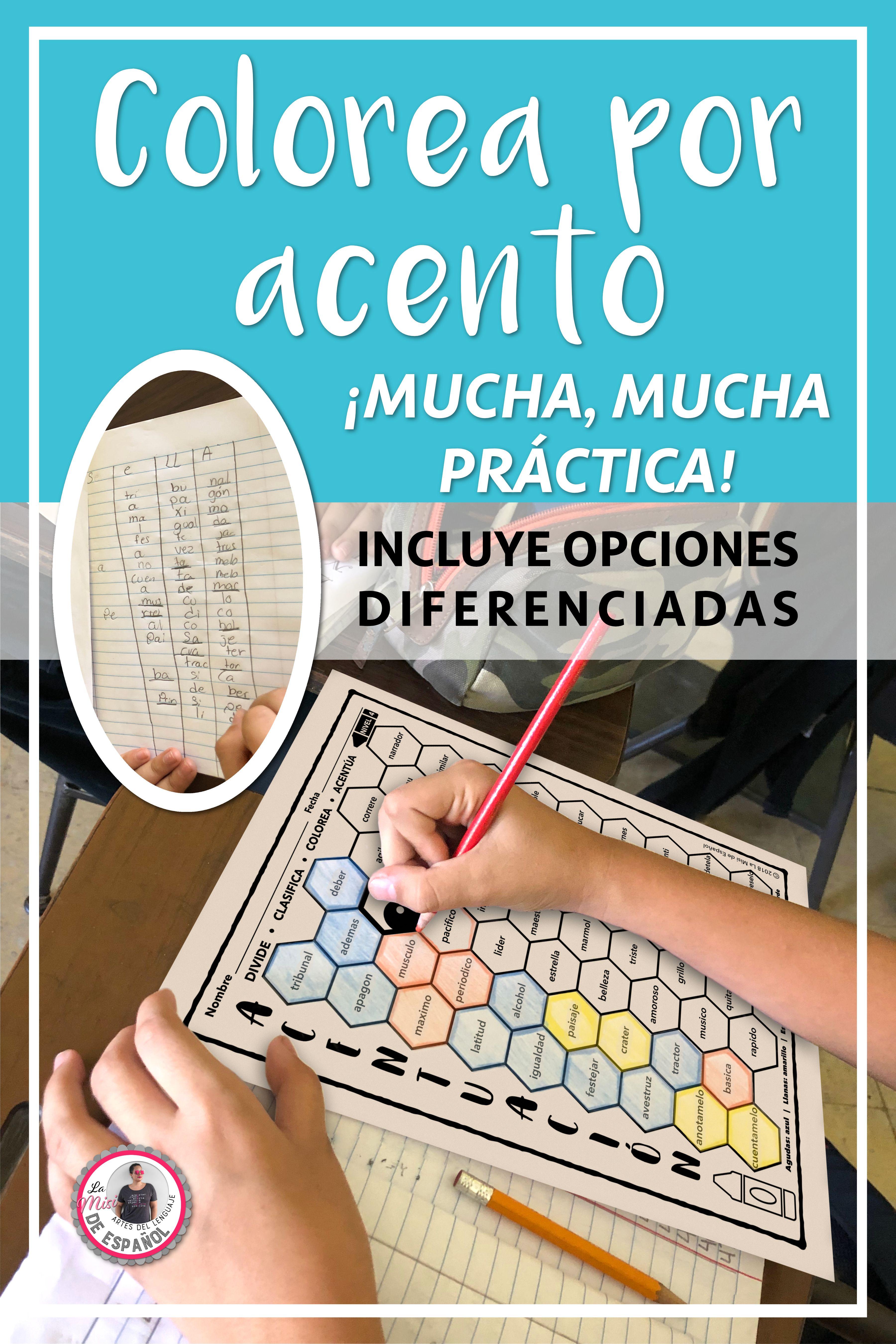 Acentuación Hojas de Trabajo Colorea por Acento Spanish Worksheets ...