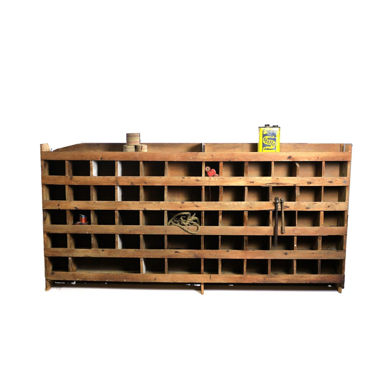 Vintage Hardware Store Parts Bin Pigeonhole Cabinet 750 00