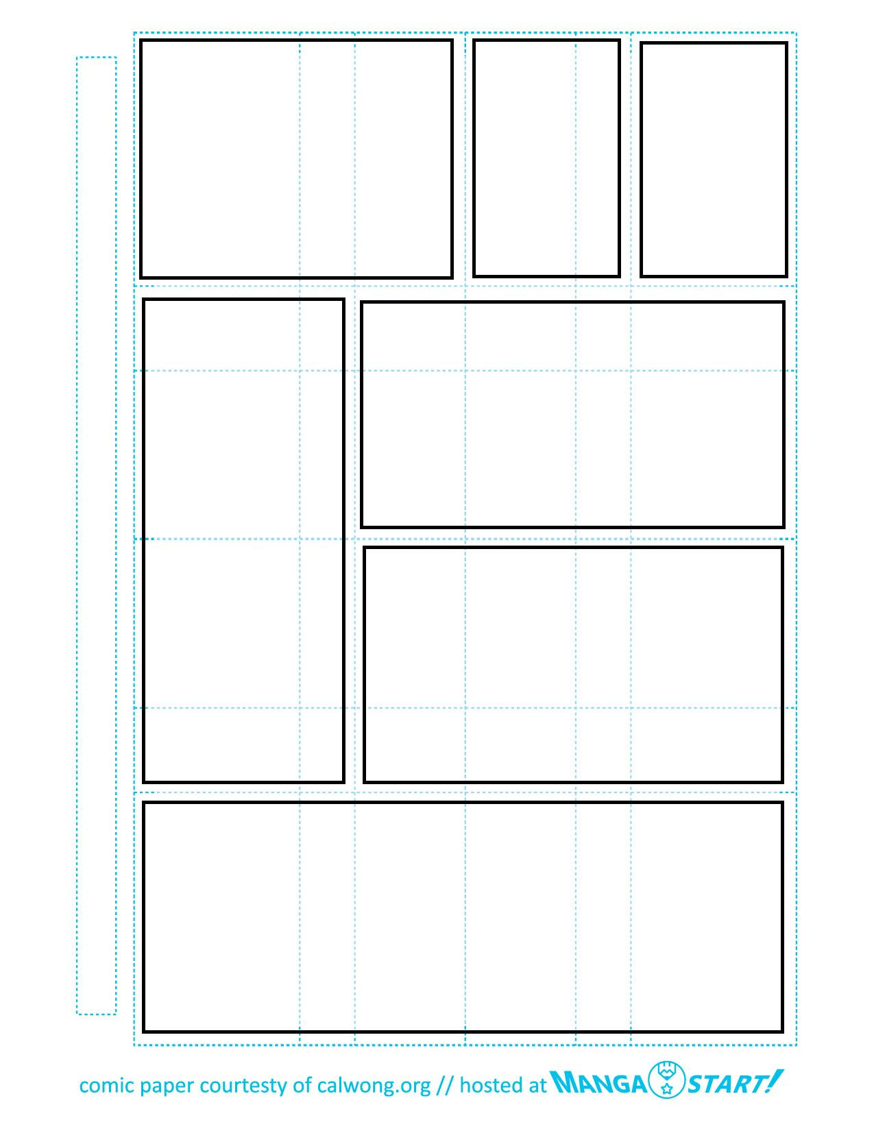 Comic strip template reading the