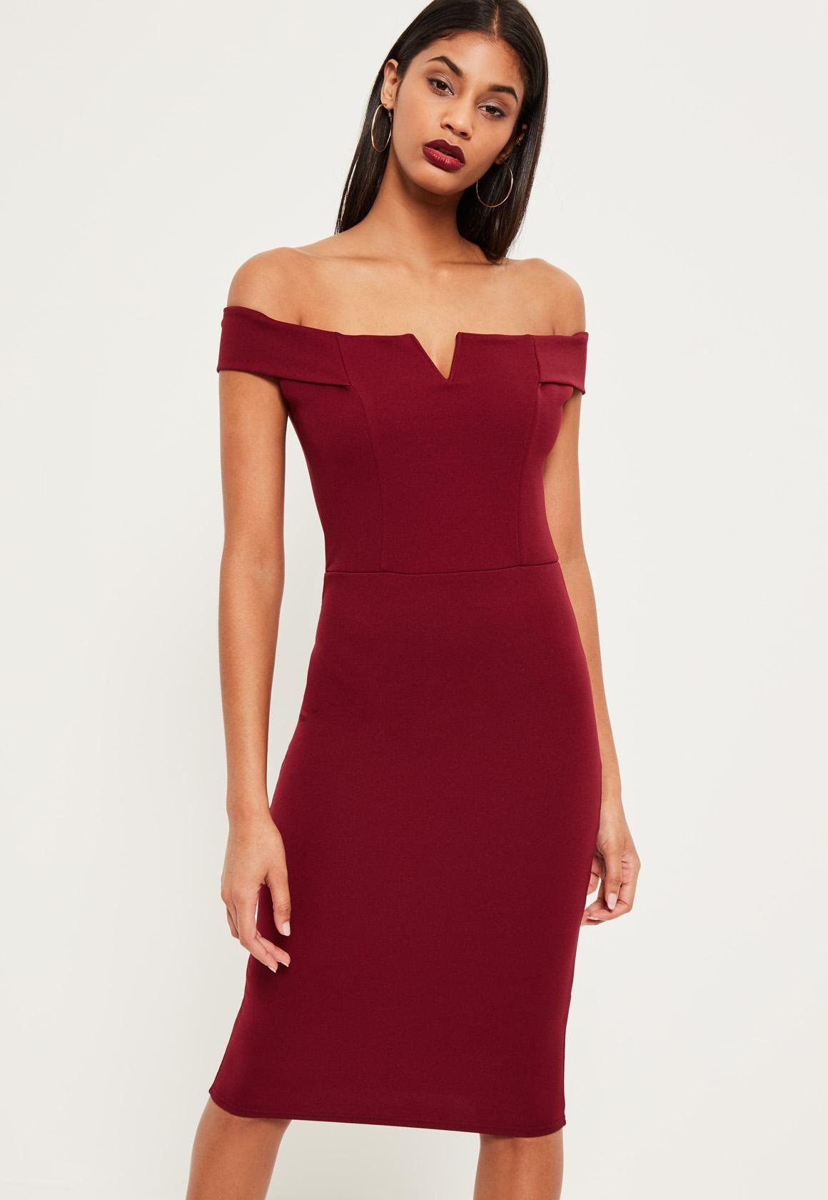 f3f159e82a0 Missguided - Burgundy V Front Bardot Midi Dress | Let's get fancy ...