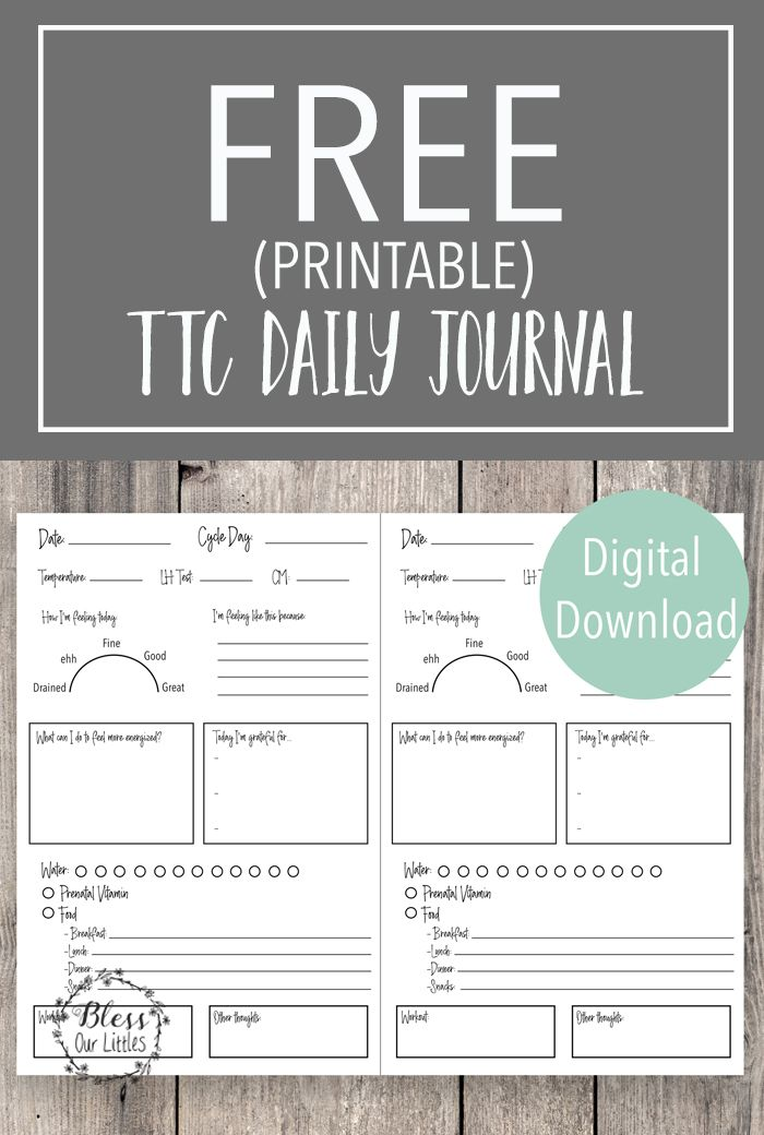 TTC Daily Journal for Getting pregnant - Free Downloadable ...