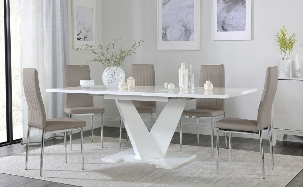 Turin White High Gloss Extending Dining Table With 6 Leon Taupe Dining Chairs In 2020 White Dining Table White Leather Chair White Dining Chairs