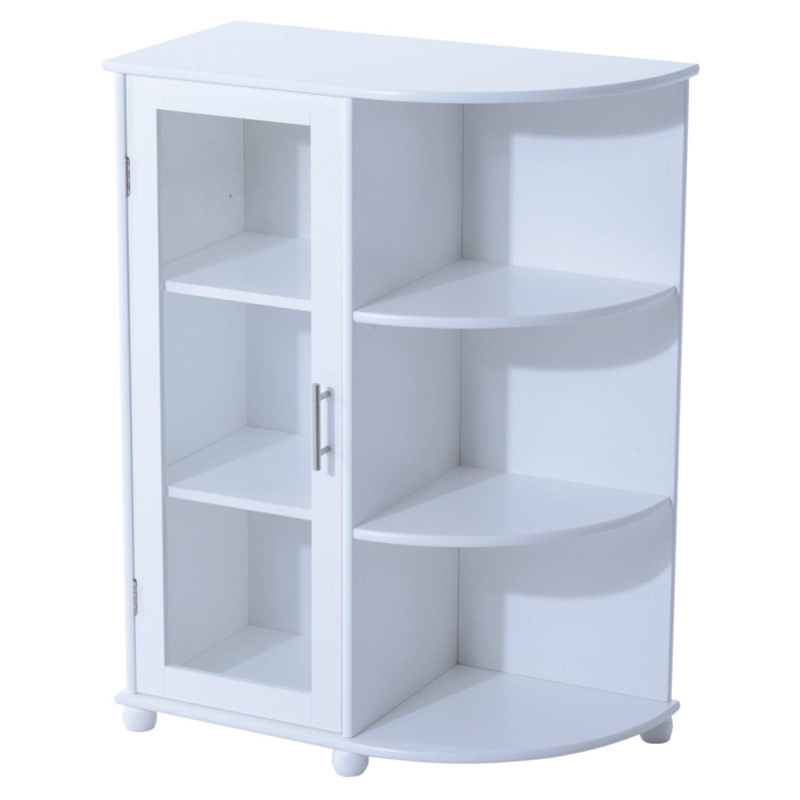 Homcom 32 In Floor Cabinet With Door And Side Shelves Shelves