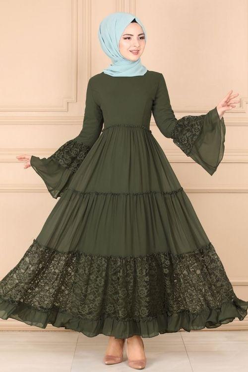 Modaselvim Elbise Dantel Detay Elbise 81674bn105 Haki Islami Giyim Elbise Kadin Modasi Elbiseler