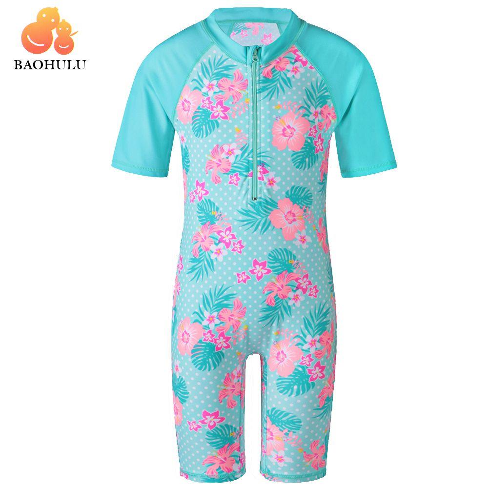 a09454bcd5 BAOHULU Cyan Flower Baby Girl Swimsuit Bathing Suits UV UPF50+ One Piece  Girls Swimwear for Kids 3-10Y Children Swimming Suit