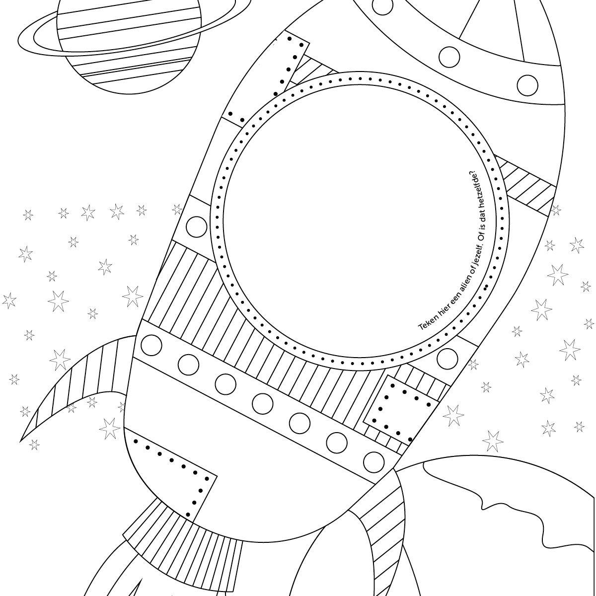 Kleurplaten Van Raketten.Kleur En Teken Deze Kleurplaat Met Astronaut En Raket