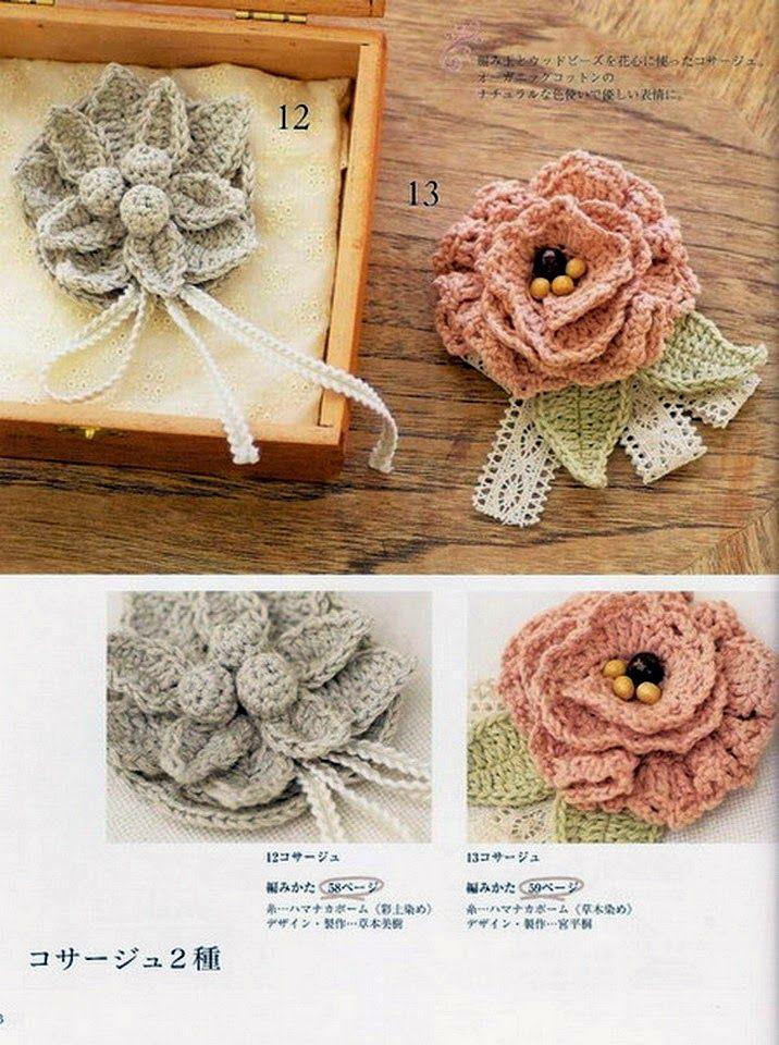 PATRONES GRATIS DE CROCHET: Patrón de dos lindos broches de flores a ...