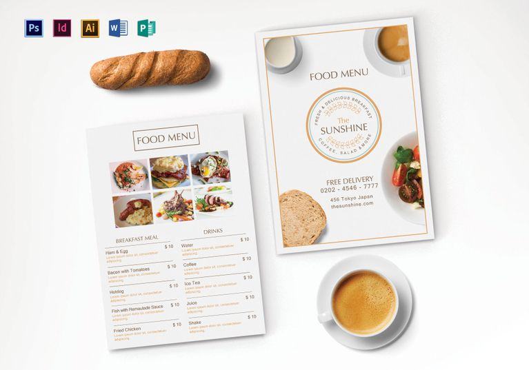 Breakfast Menu Template Menu Template designs Pinterest Menu - breakfast menu template