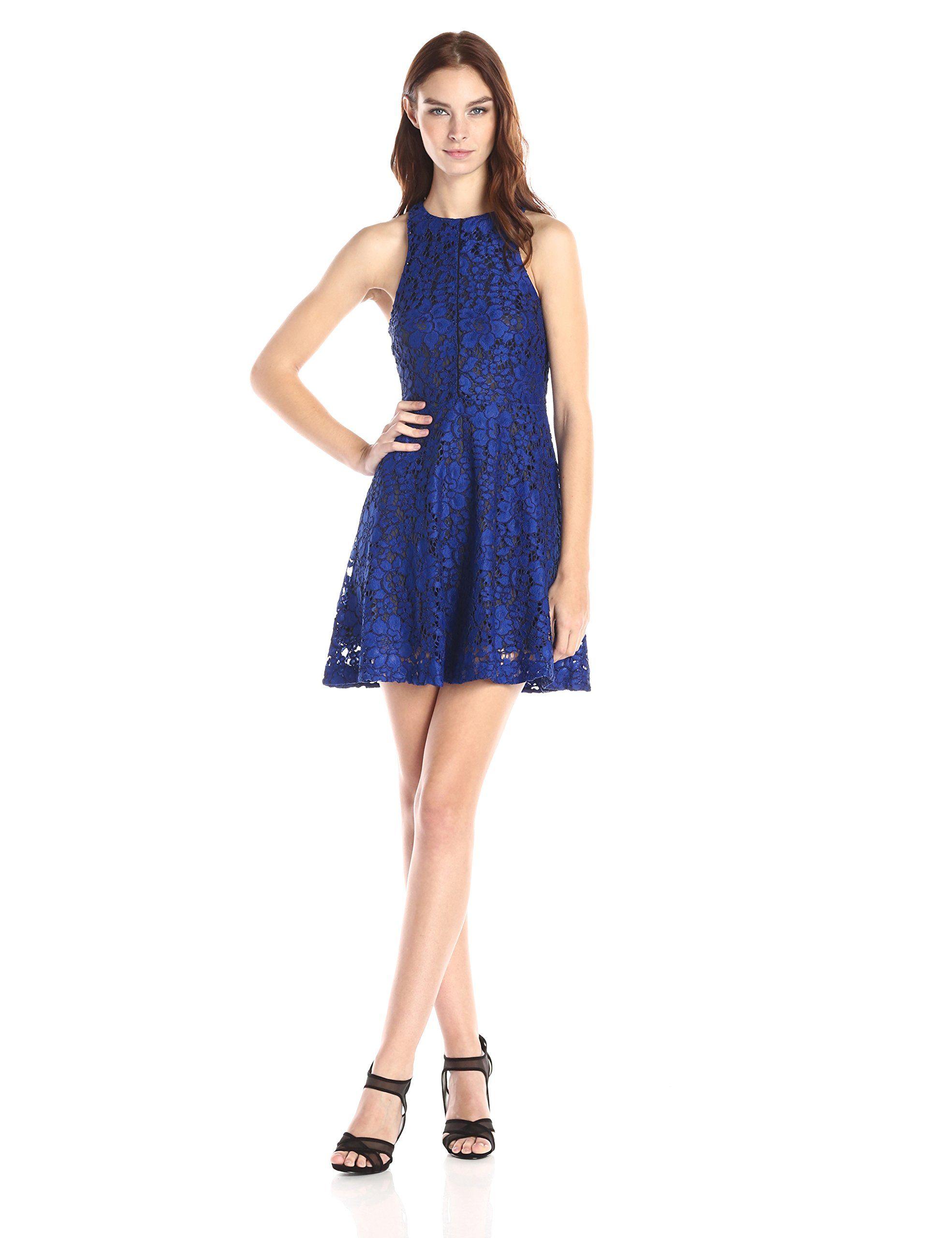 Lace dress royal blue  Townsen Womenus Parson Lace Fit and Flare Dress Royal Blue  Blue