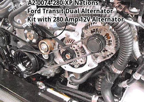 Dual Alternator Kit With 280xp Alternator For 2015 Up Ford Transit