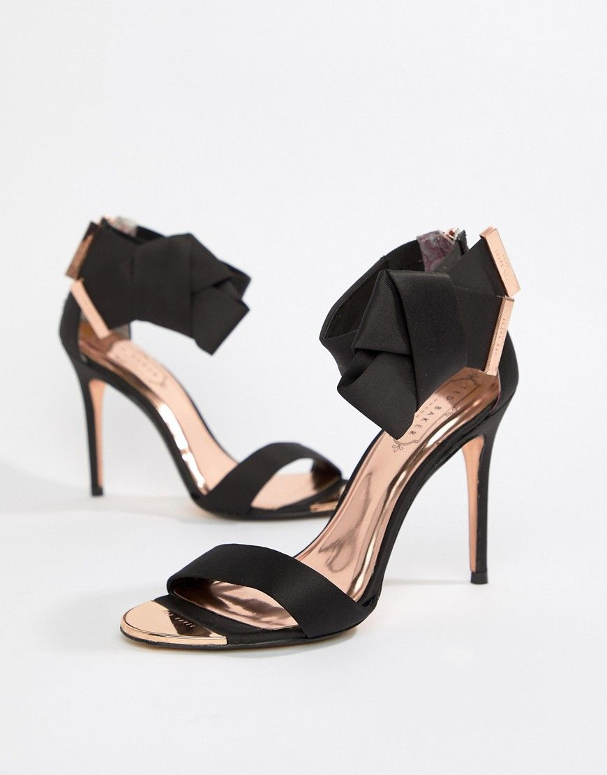 771e65e98 TED BAKER BLACK SATIN BOW DETAIL HEELED SANDALS - BLACK.  tedbaker  shoes