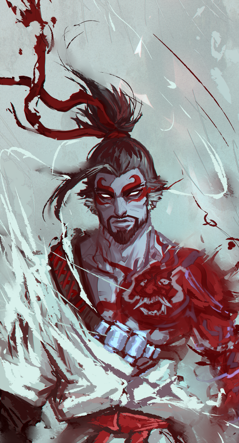 "cheesy0queen: ""painty painty demon hanzo "" 