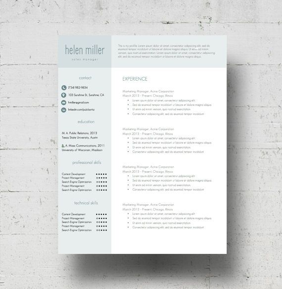 Resume Template  Cover Letter Template, CV Template w/Business Card