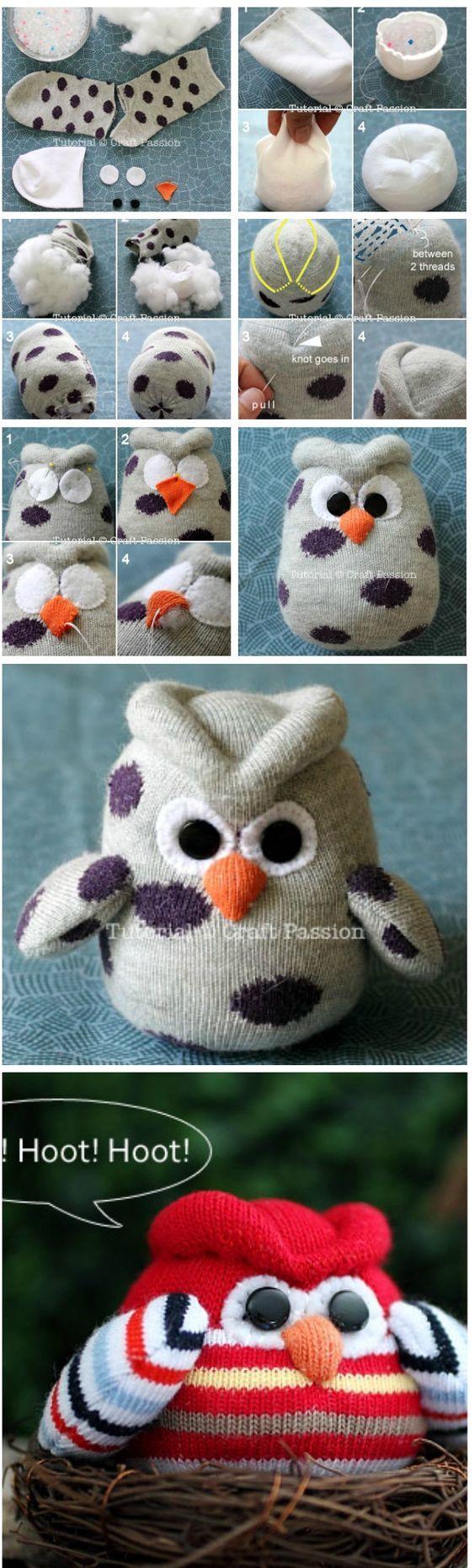 Eine Eule aus einer alten Socke. Das perfekte Geschenk für kleine Geschwister.