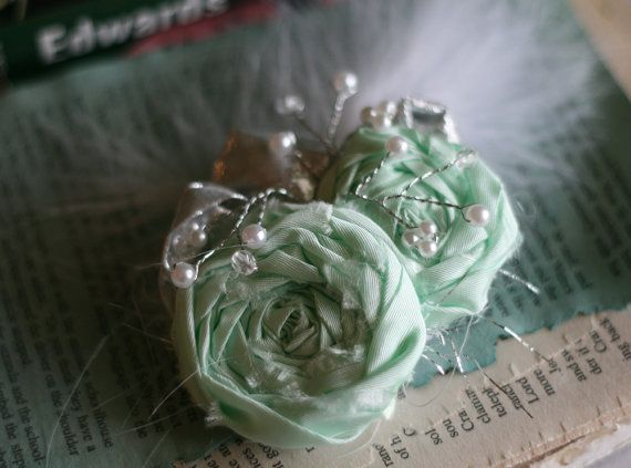Sweet Rosette Clip in Mint and Silver by YellowElm on Etsy
