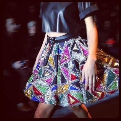 Fausto Puglisi extreme A-Line skirt with geometrical embroideries inspired by Serge de Diaghilev's Ballets russes, Pablo Picasso and Sonia D...