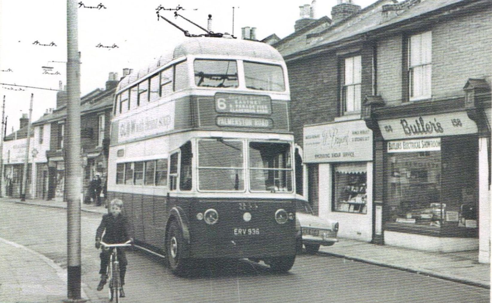 No 6 Trolley bus, Highland Rd, outside Butlers the bike shop circa 1960's