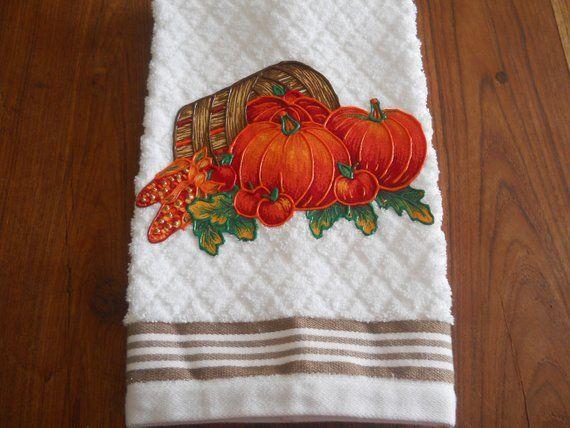 Thanksgiving appliqued hand towel bushel of pumpkins bathroom