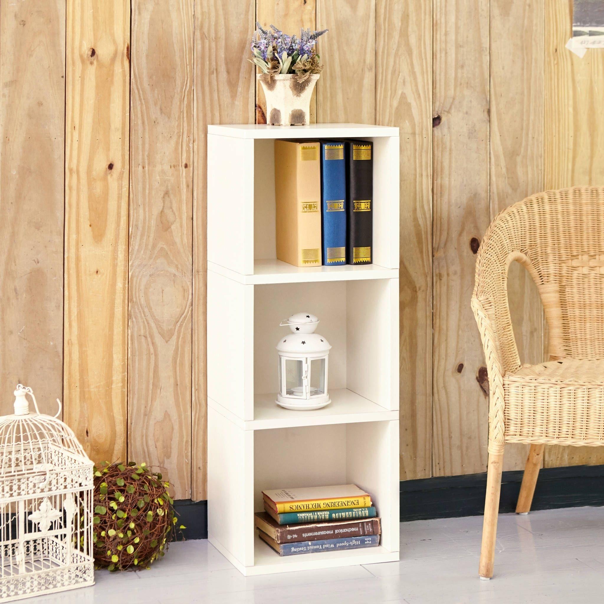 Way Basics Wynwood Eco 3 Shelf Narrow Bookcase Storage, White Lifetime