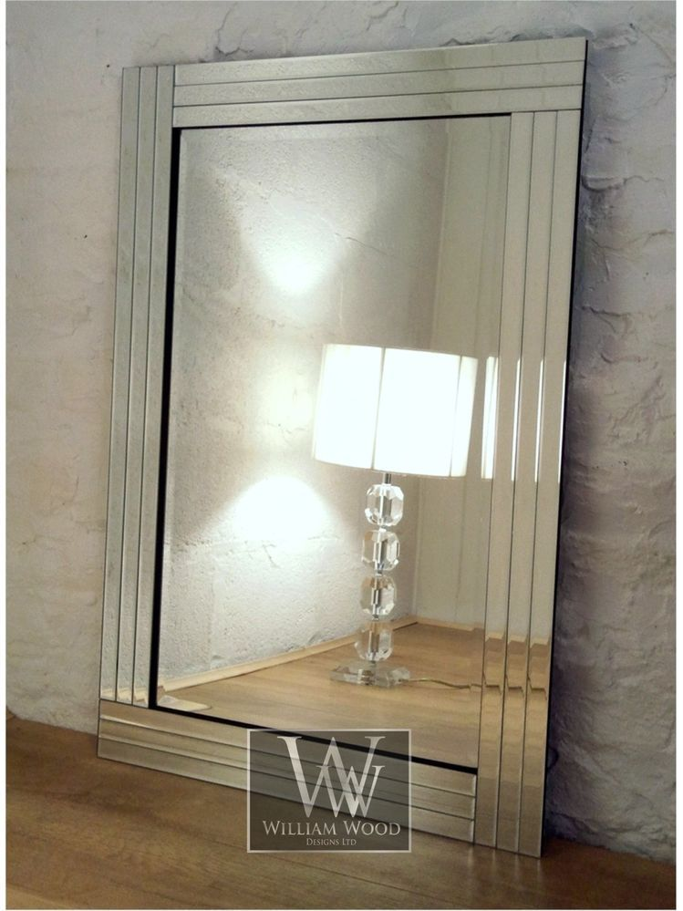 Trevina silver glass framed rectangle bevelled wall mirror for Large silver decorative mirrors
