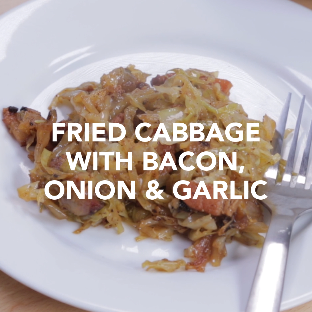 Fried Cabbage with Bacon Onion and Garlic  Just made this with a Napa cabbage and a Walla Walla sweet onion Wow Sweet salty and so good even my husband who hates cabbage...