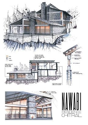 Anique azhar nawabi residence chitral graphic for Cheap architectural drawings