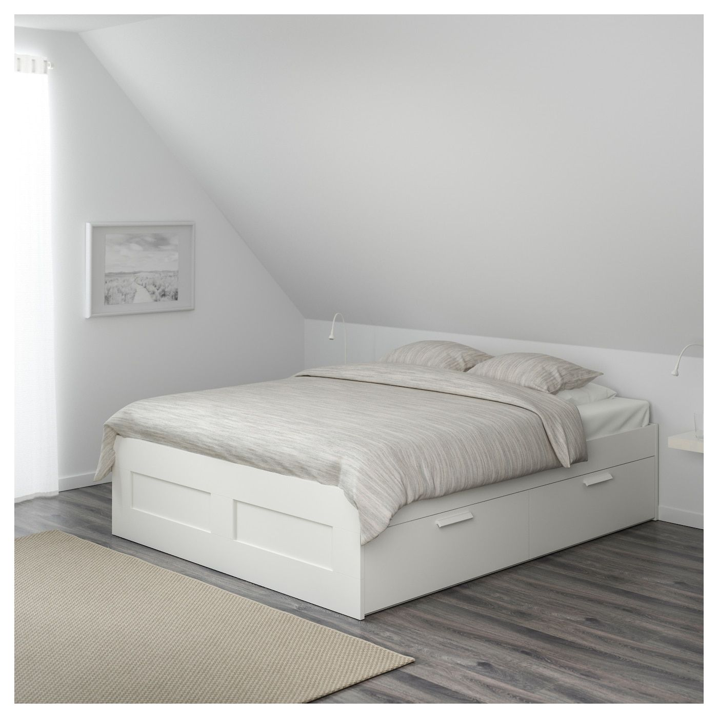 Brimnes Bettgestell Mit Schubladen Weiss Luroy Ikea Deutschland Ikea Bed Frames Bed Frame With Storage Bed Storage Drawers