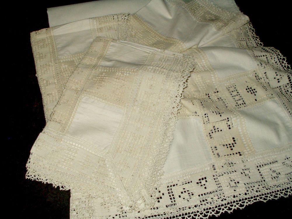 Victorian Bolster Pillows : Antique Victorian Edwardian Pr Filet Crochet Pillow Sham Toppers + Bolster Cover Bed Linens ...