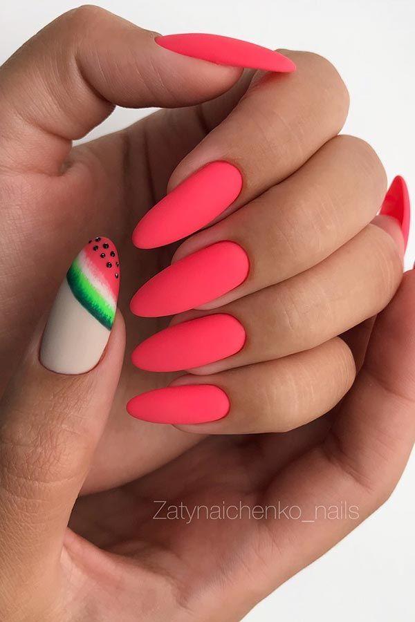 Matte Watermelon Nail Design nail jenner nail wedding nail nail nail nail