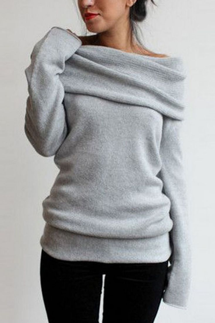 Heathered Turtleneck Off-the-Shoulder Knit Sweater | Shoulder ...