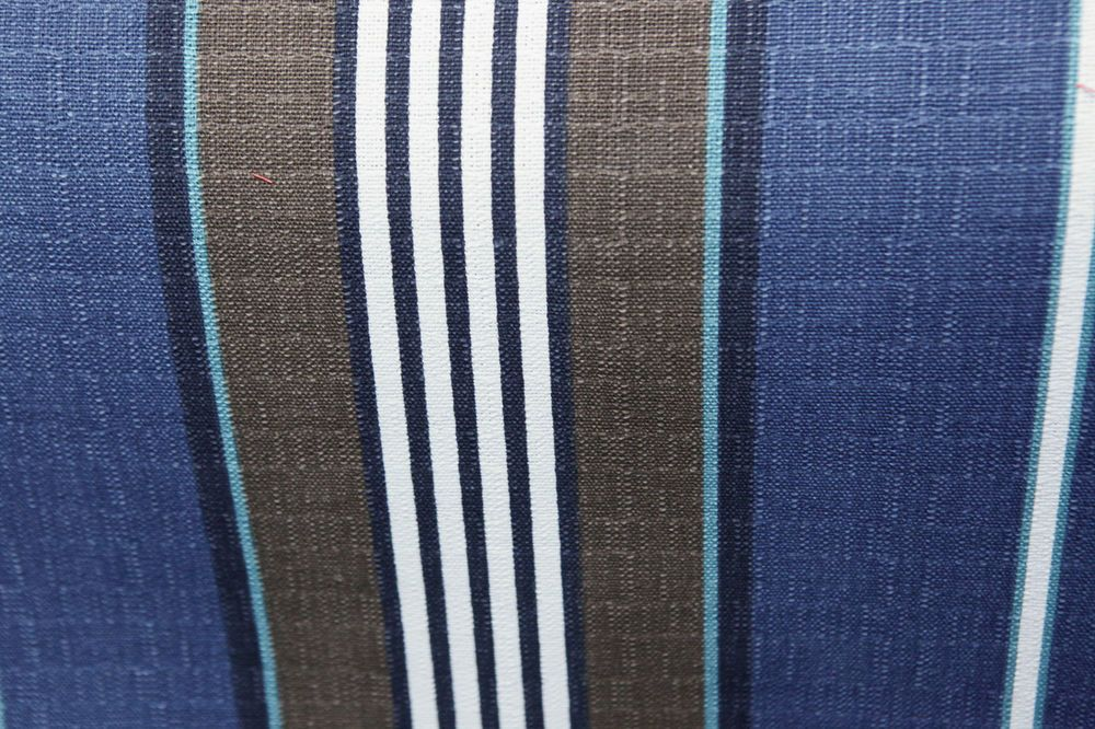 Blue Brown White Teal Navy Stripe Flax Linen Drapery Fabric By The ...
