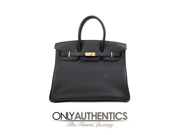 Hermès Black Togo 35 Cm Birkin Bag. With Gold